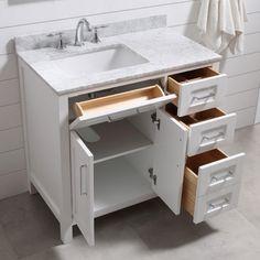 Best Diy Bathroom Vanity - - Bad decorationforhome DIY diyDreamhouse diyhomecrafts bathroom vanitiesIf you happen to have a small bathroom in your house, consider Small Vanity, Small Bathroom Vanities, Single Sink Bathroom Vanity, Small Bathroom Storage, Vanity Sink, Small Bathroom Cabinets, White Bathroom, Mirror Bathroom, Bathroom Closet