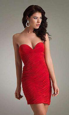 Sensuales vestidos cortos color rojo de fiesta 2013