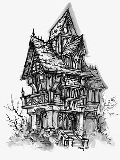 View an image titled 'House Sketch' in our World of Warcraft: Cataclysm art gallery featuring official character designs, concept art, and promo pictures. 3d Fantasy, Fantasy Kunst, Art And Illustration, Halloween Illustration, Medical Illustration, Kunst Portfolio, Portfolio Ideas, Animal Drawings, Art Drawings