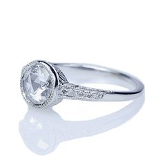 Replica Edwardian Engagement Ring set with a rose cut diamond - 2651DWD-04