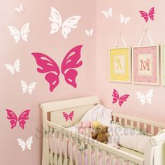 Our Butterfly Wall Decal consists of 16 butterfly wall stickers in 2 colours. You could stick the butterflies on one wall or around any little girls room. Childrens Wall Stickers, Kids Wall Decals, Wall Stickers Home, Nursery Wall Decals, Wall Decal Sticker, Vinyl Wall Decals, Butterfly Nursery, Butterfly Wall Decals, Girls Room Design