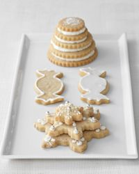 """Iced Brown Sugar Cookies Recipe on Food & Wine ~ """"I really like the idea of using white frosting on this cookie, which has a little bit of brown sugar in it for great color, because the contrast between the two is so distinct,"""" says Matt Lewis of Brooklyn's Baked bakery."""