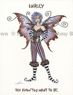 UNRULY You know you wanna be.    ORIGINAL ART - SALE Paintings - Amy Brown Fairy Art - The Official Gallery
