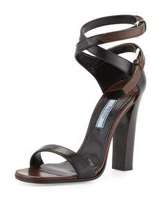 Stacked-Heel Ankle-Wrap Sandal, Black/Brown by Prada at Bergdorf Goodman.