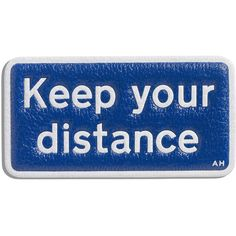 Anya Hindmarch Keep Your Distance Sticker for Handbag (95 CAD) ❤ liked on Polyvore featuring bags, fillers, text, accessories, blue, blue leather bag, anya hindmarch, logo bags, real leather bags and anya hindmarch bag