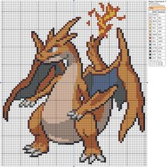Mega Charizard Y Beaded Cross Stitch, Modern Cross Stitch, Cross Stitch Embroidery, Cross Stitch Patterns, Mega Charizard, Pokemon Cross Stitch, Pokemon Craft, 8bit Art, Pixel Art Templates