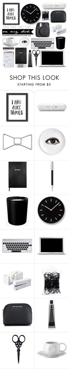 """""""What's on My Desk? / Americanflat """"I Like Nice Things"""" Framed Wall Art"""" by palmtreesandpompoms ❤ liked on Polyvore featuring interior, interiors, interior design, home, home decor, interior decorating, Americanflat, Beats by Dr. Dre, Kate Spade and Sloane Stationery"""