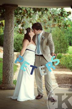 DIY wedding, Maymont, Last name sign, Handmade, Ceremony, Turquoise, Navy, Casual, Princess Lasertron