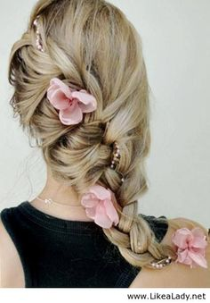 Loose half french braid diagonally and decorate with flower Gorgeous hairstyle for simple ladies diy,