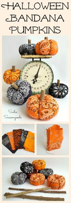 Repurpose and Upcycle a vintage orange or black bandana into a low sew easy to make DIY fabric pumpkin for Halloween by Sadie Seasongoods / www.sadieseasongoods.com