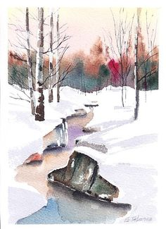 Snowy Landscape 12 by EstebanezWatercolors on Etsy