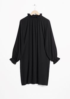& Other Stories image 1 of High Neck Frill Dress in Black
