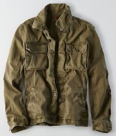 NWT American Eagle Men s Military Shirt Jacket Olive Large or XL 0c5698da1