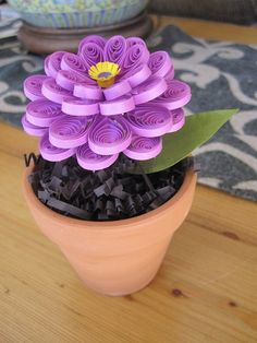 Small Quilled Purple Potted Zinnia Flower by GrandFinaleArt, $15.00