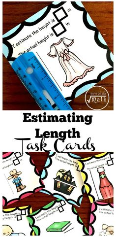 These FREE estimating length worksheets or task cards are the perfect way for children to estimate small lengths in centimeters and inches. They then check their estimation using a ruler. Measurement Activities, Math Activities For Kids, Literacy Games, Math Resources, Math Measurement, Counting Activities, 2nd Grade Math, Grade 2, Second Grade