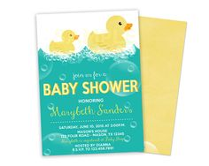 Splish Splash! Adorable rubber duck Baby Shower Invitations for your rubber ducky baby shower for boy, girl, or neutral duckie baby showers!