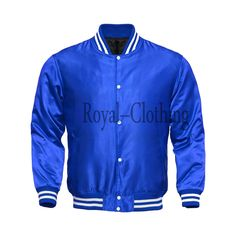 This varsity letterman jacket features finest blue satin. Featuring two slash pockets, one inside pocket, laser quilted lining. Matching tricot waist, cuff and neck bands gives a classic look. Custom Letterman Jacket, Custom Varsity Jackets, Varsity Letterman Jackets, Thrasher Sweatshirt, Mens Outdoor Jackets, Royal Clothing, Satin Jackets, Blue Satin, Classic Looks