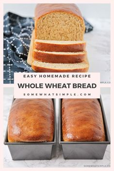 If you love homemade bread that's easy to make and tastes amazing, this simple Whole Wheat Bread Recipe is just for you! I promise, you can't screw this recipe up. This recipe will turn out perfectly every time! Wholemeal Bread Recipe, Brown Bread Recipe, Wheat Bread Recipe, Bread Maker Recipes, Easy Bread Recipes, Banana Bread Recipes, Yummy Recipes, Bagels, Tortillas