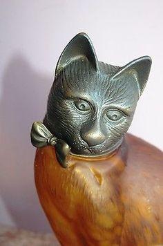 Lamp , Cat, Feline, Kitten, Art  Glass, Table, TV,  Desk, Lamp  TIN CHI 1996