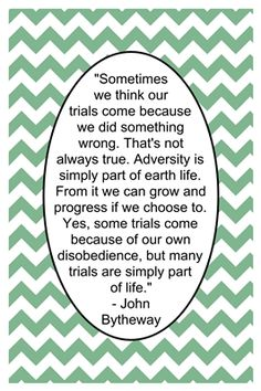 Why do we have adversity? February Lesson handout