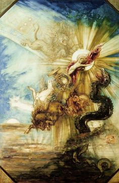 Phaéton' painting by Gustave Moreau. Vintage wall art for sale; fine art prints and painting reproduction Art And Illustration, Art Visionnaire, Arte Peculiar, Guache, Art Database, Visionary Art, Fine Art, Vintage Wall Art, Greek Mythology