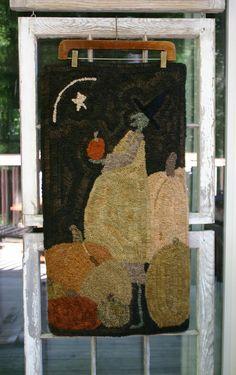 Folk Art Autumn Fall Halloween pumpkin witch rug by thesimplequiet, $300.00