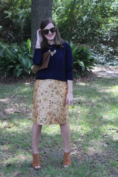 J.Crew sweater and pencil skirt via With Style and a Little Grace