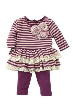 Sparkle Stripe Tiered Ruffle Set (Baby Girls)