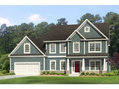 Traditional House Plan with 2472 Square Feet and 4 Bedrooms from Dream Home Source | House Plan Code DHSW077067 maybe close 2-story foyer to put laundry upstairs, convert that downstairs to full bath? Front (EP)