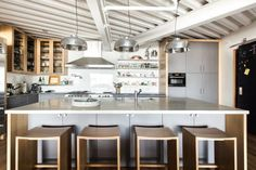 A collection of 15 Extraordinary Modern Industrial Kitchen Interior Designs that is going to show you how modern can the industrial kitchen look. Kitchen Hood Design, Kitchen Design Gallery, Luxury Kitchen Design, Outdoor Kitchen Design, Kitchen Cabinet Design, Modern Bathroom Design, Interior Design Kitchen, Kitchen Decor, Kitchen Designs