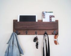 Coat Rack with Shelf Mail Pocket Key Hooks by MidnightWoodworks