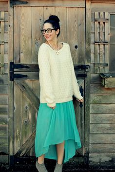 Cuddly sweater and floaty skirt combo.