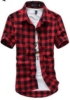 Red And Black Plaid Shirt Men Shirts 2015 New Summer Style Fashion Chemise Homme Mens Dress Shirts Short Sleeve Shirt Men Cheap