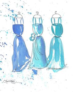 Watercolor Paintings  Turquoise Dresses by lauratrevey on Etsy, $48.00