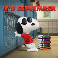 Snoopy Joe Cool it's September Peanuts Gang, Die Peanuts, Peanuts Movie, Peanuts Cartoon, Peanuts Characters, Cartoon Characters, Snoopy Love, Charlie Brown Peanuts, Charlie Brown And Snoopy