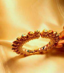 Buy gold plated navratna jadau side open kadau bangles-and-bracelet online