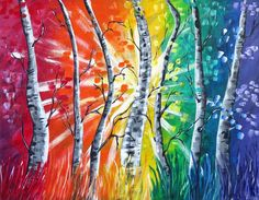 For Sale at www.charbensonarts.com Rainbow Light Acrylic Painting on Stretched Canvas Colorful Rainbow Light, Rainbow Art, Rainbow Colors, Tree Paintings, Acrylic Paintings, Your Paintings, Birch Tree Art, The Art Sherpa, Lights Artist