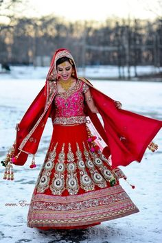 red and pink south asian bridal lehenga, winter wondrous bride, indian bridal clothing