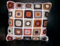 Retro Peggy Square Crochet Cushion Cover. Lovely handwork displayed so beautifully, and functional too!
