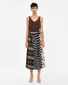 ZARA - WOMAN - PATCHWORK PRINT PLEATED SKIRT