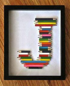 Altered Colored Pencil or Crayon Letter Art.great way to use up all those pencil stubs.or shortie crayons. Diy For Kids, Crafts For Kids, Children Crafts, Craft Projects, Projects To Try, Craft Ideas, Art Diy, Letter Art, Crayon Letter