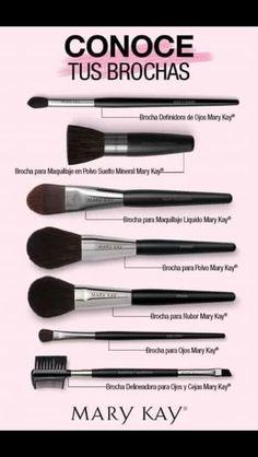 Tipo de brochas a usar Makeup Kit, Makeup Tools, Makeup Brushes, Eye Makeup, Mary Kay Cosmetics, Make Up Tricks, Tips & Tricks, Mary Kay Ash, Makeup Organization