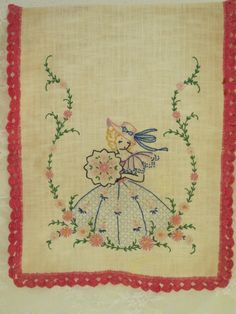 VINTAGE 1930's EMBROIDERED Southern Belle Linen Table Runner - Dresser SCARF with Crochet Trim