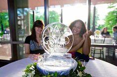 Fleur de Lis Pendant at Wedding | Full Spectrum Ice Sculptures