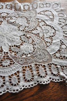 Antique Schiffli Doily Netting Faux Normandy Chemical Lace Rectangular Vintage
