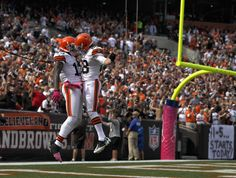 Wide receiver Josh Gordon #13 of the Cleveland Browns celebrates after scoring a touchdown against the Cincinnati Bengals at Cleveland Browns Stadium on October 14, 2012 in Cleveland, Ohio.