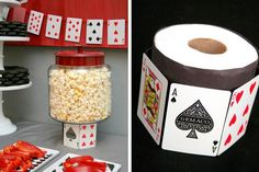 Elevate items on the buffet or dessert table using a toilet paper roll, wrapped in playing cards | Hostess with the Mostess® - 21 Casino Night
