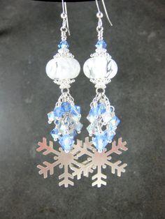 Silver Snowflake Dangle Earrings Blue White by GlassRiverJewelry