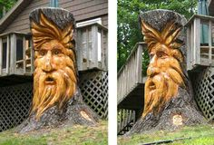 Awesome carving in a tree stump. My bf could do something like this with a little more wood carving practice. Tree Faces, Tree Carving, Found Art, Tree Trunks, Wood Creations, In The Tree, Wood Sculpture, Tree Art, Yard Art