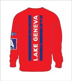 0 AspinShire® Long Sleeve Lake Geneva A Scow Tshirt / RED Poster Store, Lake Geneva, Lake Life, Studio, Sweatshirts, Long Sleeve, Illustration, Sleeves, Red